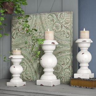 Rustic 3 Piece Ceramic Candlestick Set