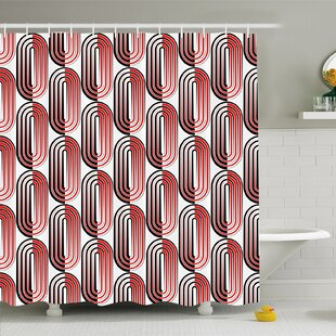 Modern Art Home Ellipse Curves Surrounded by Focal Points Mathematical Modern Motif Shower Curtain Set