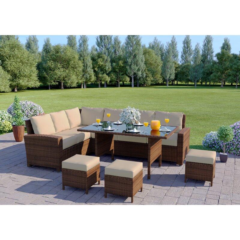 Sol 72 Outdoor 9 Seater Rattan Sofa Set & Reviews ...