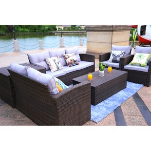 Veronica 6 Piece Rattan Sofa Seating Group with Cushions