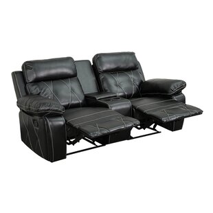 2 Seat Reclining Leather Home Theater Sofa