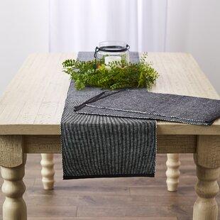 Chassic 12 x 72 inch Rustic Cotton Burlap Table Runner with Handmade Fringe Diamond Lattice Jute Woven Farmhouse Country Dresser Decor