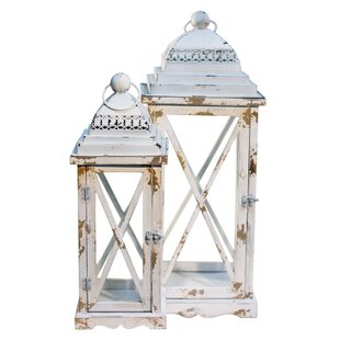 American Mercantile 2 Piece Wood/Metal Lantern Set