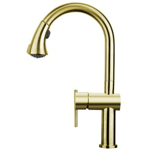 Whitehaus Collection Waterhaus Pull Out Single Handle Kitchen Faucet with Gooseneck Swivel Spout