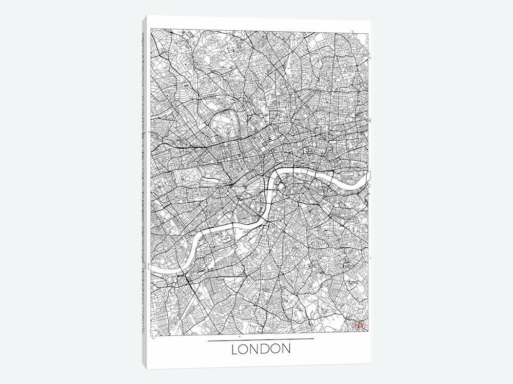 East Urban Home London Minimal Urban Blueprint Map Graphic Art Print On Canvas Wayfair