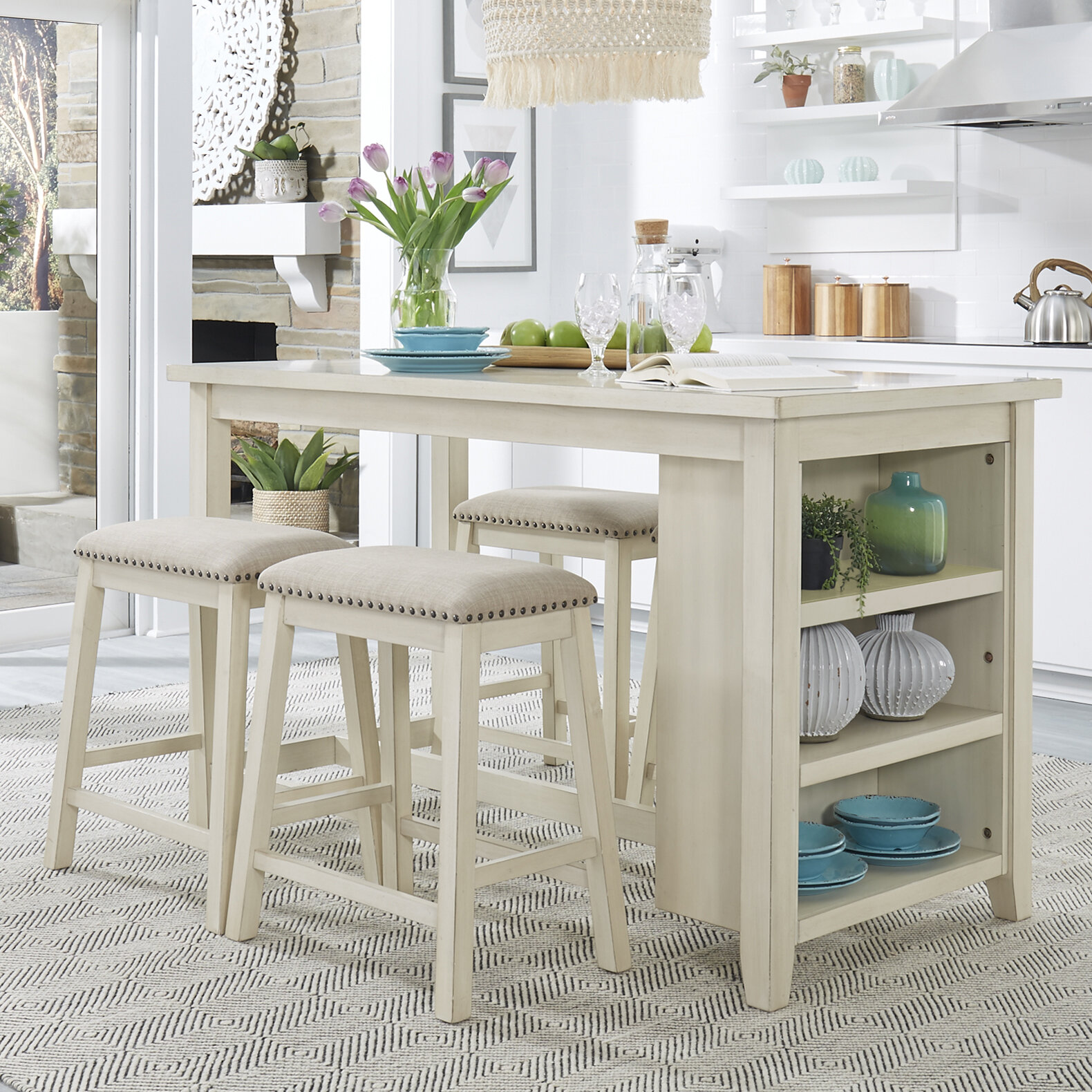 Three Posts™ Latour 5 Piece Counter Height Breakfast Nook Dining