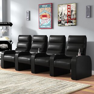 Latitude Run Manual Design Rocker Recline Home Theater Row Seating (Row of 4)