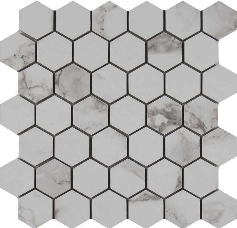 Statuario 2 X Hexagon Porcelain Mosaic Tile