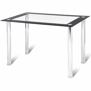 Abagail Kitchen Breakfast Tempered Glass Top Dining Table