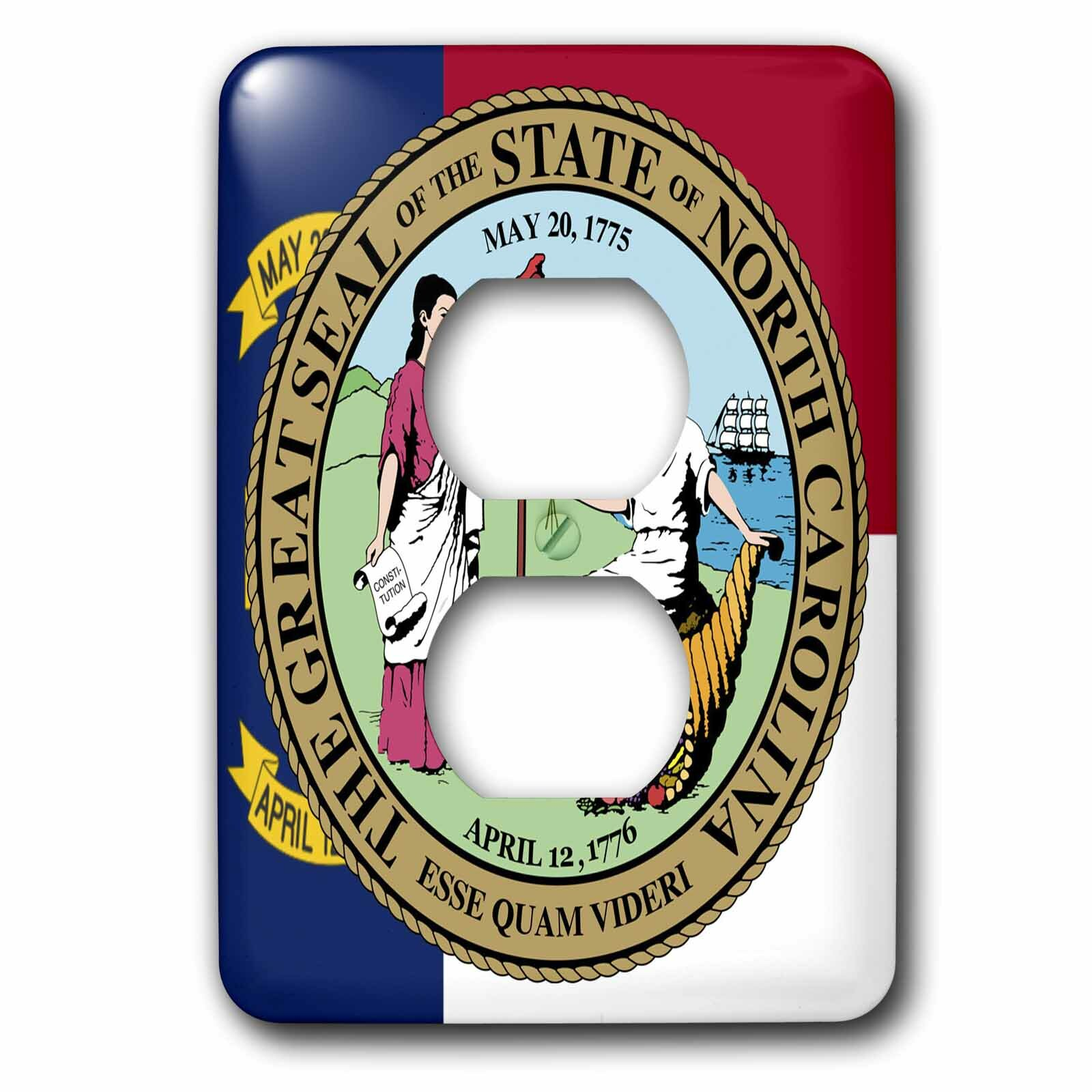 3drose State Seal With Flag 1 Gang Duplex Outlet Wall Plate Wayfair
