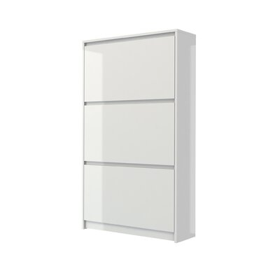 Ebern Designs 16-Pair Shoe Storage Cabinet Finish: White High Gloss