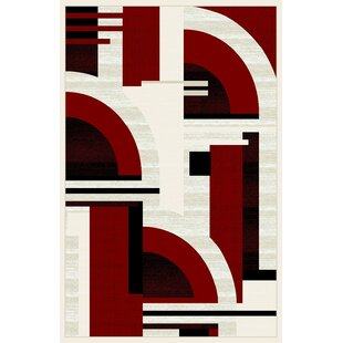 Great choice Mccampbell 3D Modern Contemporary Abstract Black/Cream/Red Area Rug ByIvy Bronx