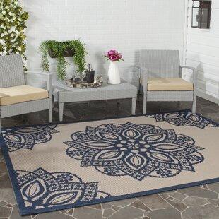 Catori Beige/Navy Indoor/Outdoor Area Rug By World Menagerie