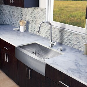 VIGO 33 inch Farmhouse Apron Single Bowl 16 Gauge Stainless Steel Kitchen Sink with Gramercy Stainless Steel Faucet, Grid,...