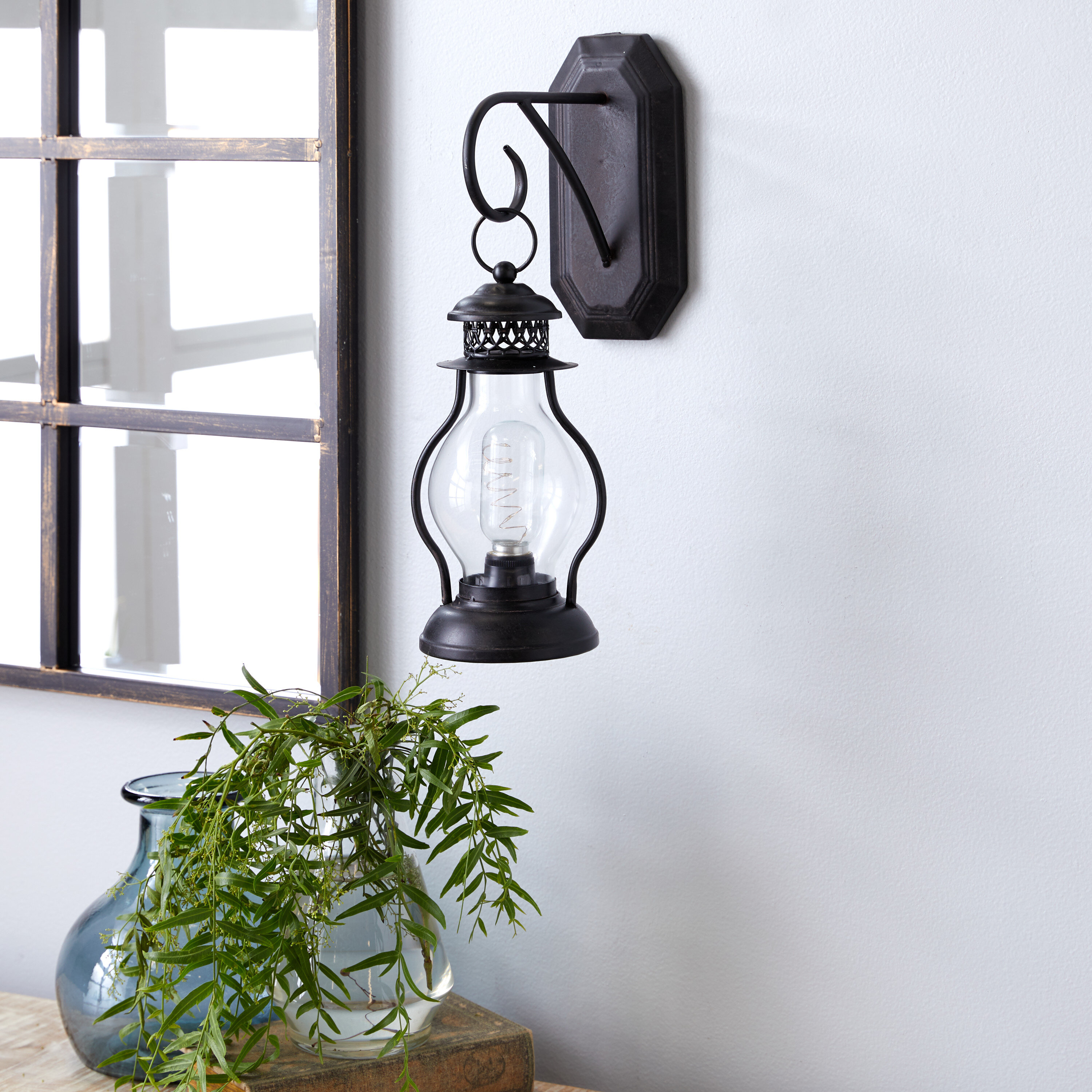 Canora Grey Yager 1 Light Black Clear Armed Sconce Wayfair