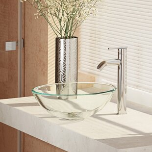 Compare prices Glass Circular Vessel Bathroom Sink with Faucet By René By Elkay