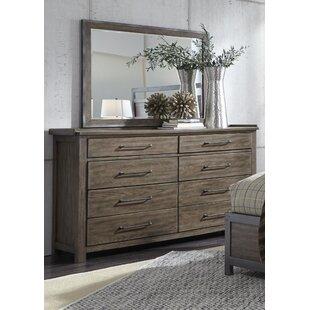 Gracie Oaks Claybrooks 8 Drawer Double Dresser with Mirror
