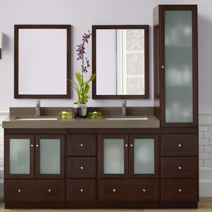 double vanity with tower. Shaker 60  Double Bathroom Vanity Set with Mirror With Tower Wayfair