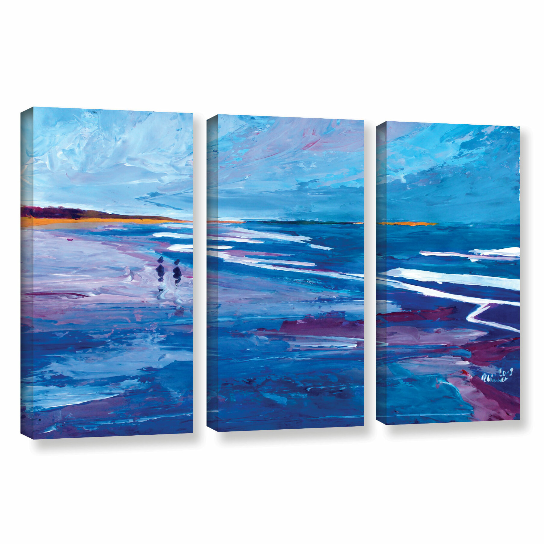 Artwall Seascape Near Big Sur By Marcus Martina Bleichner 3 Piece Painting Print On Wrapped Canvas Set Wayfair