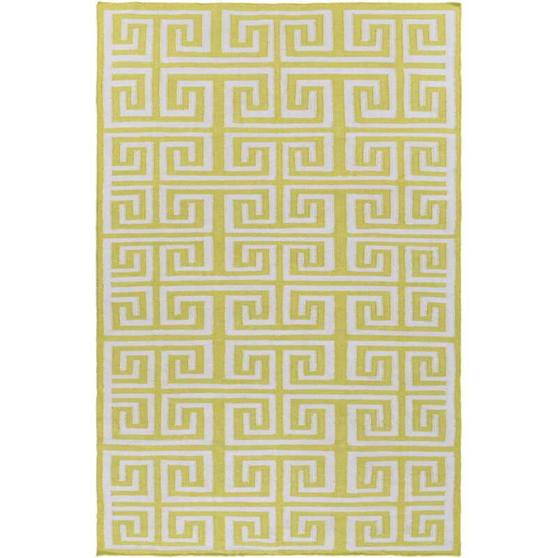 Charlton Home Larksville Geometric Handwoven Lime Ivory Area Rug Reviews Wayfair