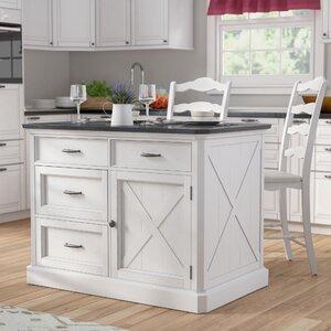 Ryles 3 Piece Kitchen Island Set with Engineered Quartz Top