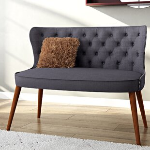 Gracie Oaks Sempronius Wood Upholstered Button-Tufting Loveseat