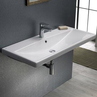 CeraStyle by Nameeks Elite Ceramic Rectangular Drop-In Bathroom Sink with Overflow