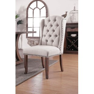 Myrna Button Tufted Wingback Fabric Upholstered Dining Chair (Set of 2) Canora Grey