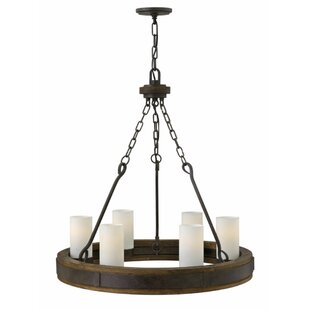 Claypool 6-Light Wagon Wheel Chandelier b..