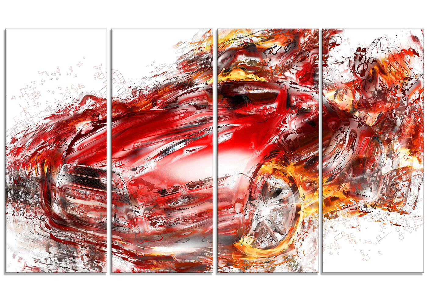 Designart Flaming Red Sports Car 4 Piece Painting Print On Wrapped Canvas Set Wayfair