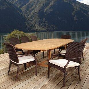 Beachcrest Home Garris 9 Piece Teak Dining Set with Cushions