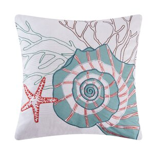 Folly Beach Nautilus Shell Cotton Throw Pillow