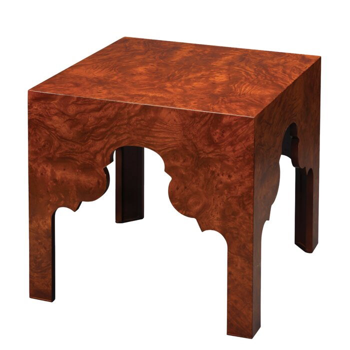 Seville Side Table In Red Ash Burl Wood Veneer End Table