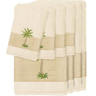 Krupa Embellished 8 Piece Turkish Cotton Towel Set