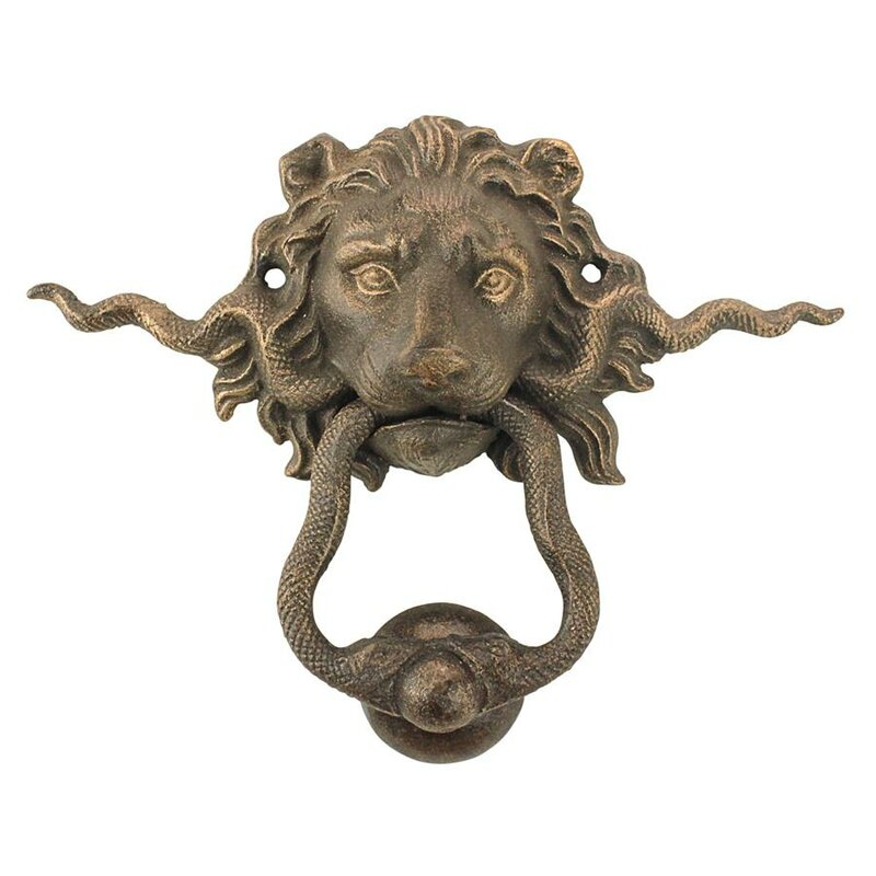 Exceptionnel Lion And The Snake Cast Iron Foundry French Royalty Decorative Door Knocker