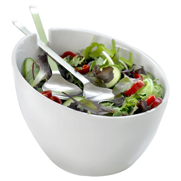 Salad Bowl with Stainless Steel Servers
