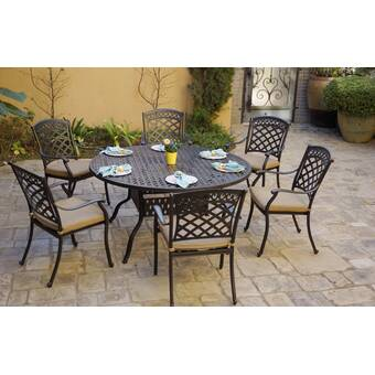 Fleur De Lis Living Carleton 7 Piece Metal Dining Set With Cushions Wayfair