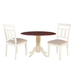Darius 3 Piece Drop Leaf Solid Wood Dining Set Millwood Pines