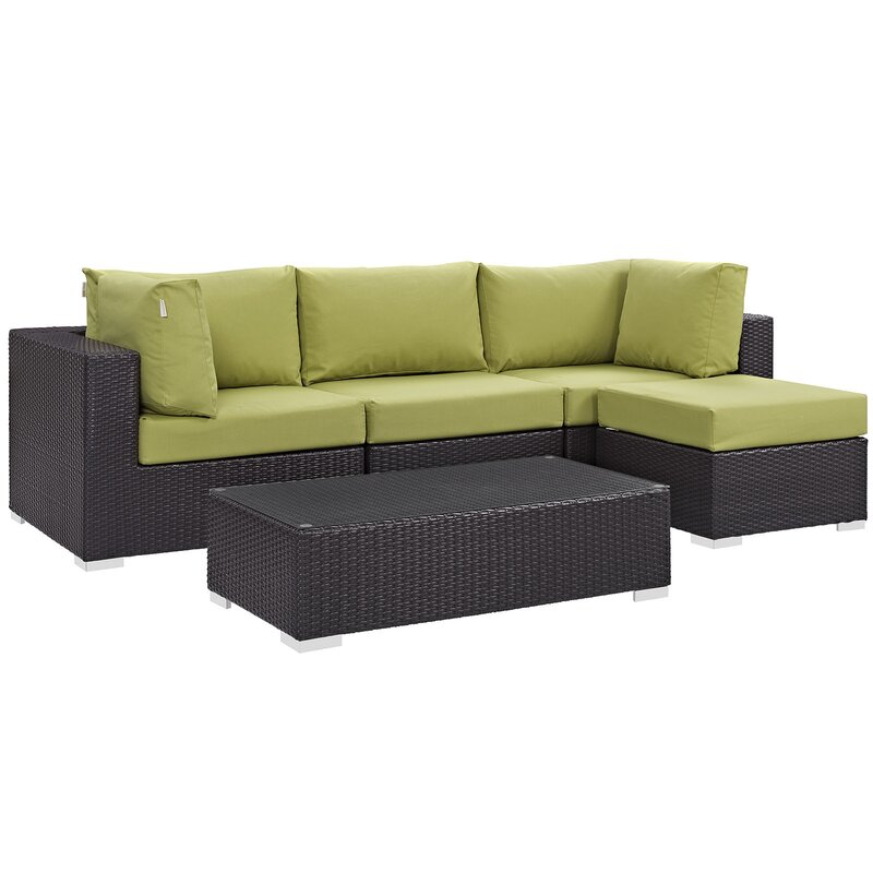 Sol 72 Outdoor  Brentwood 5 Piece Rattan Sectional Set with Cushions Fabric: Peridot