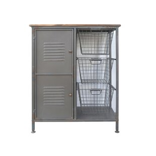 Rinaldi Aged Metal and Blonde Wood 2 Doors Accent Cabinet by Williston Forge