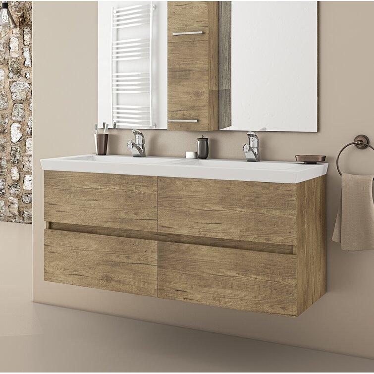 Latitude Run Derelle 48 Wall Mounted Double Bathroom Vanity Set Wayfair