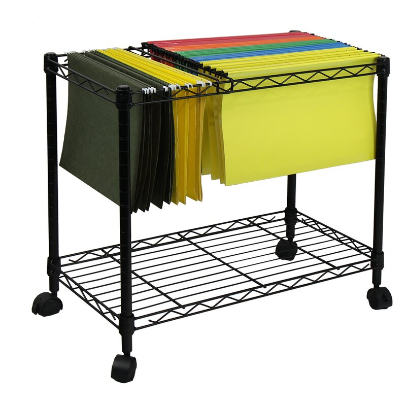 Amazing Portable 1 Tier Metal Rolling File Cart