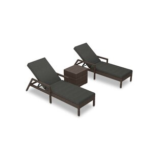 Hodge 3 Piece Chaise Lounge Set with Cushions and Table by Rosecliff Heights