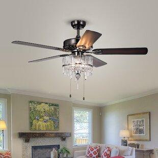Chandelier ceiling fans youll love wayfair 52 adler 5 blade ceiling fan aloadofball Gallery