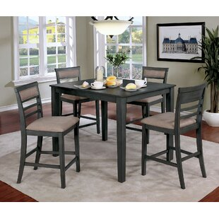 Opalstone 5 Piece Counter Height Solid Wood Dining Set