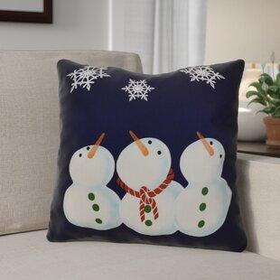 Decorative Snowman Print Outdoor Throw Pillow