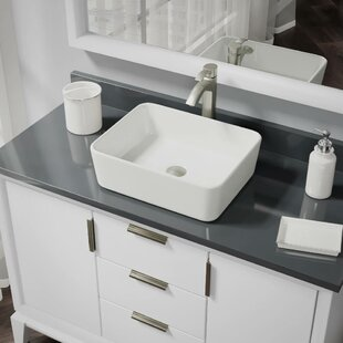 Vitreous China Rectangular Vessel Bathroom Sink with Faucet and Overflow by René