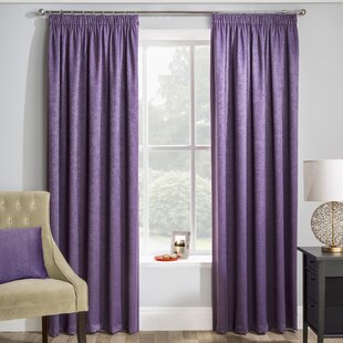 Pencil Pleat Room Darkening Thermal Curtains Set Of 2