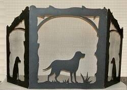 Lab Retriever 3 Panel Steel Fireplace Screen By Wildlife Décor