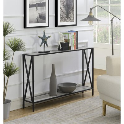 Abbottsmoor Metal Frame Console Table Color: Faux Birch by Andover Mills